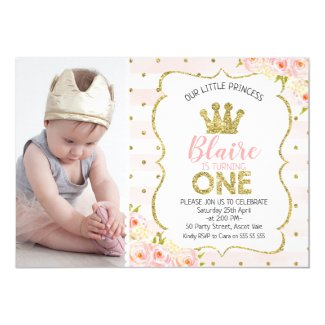 Photo Princess Crown 1st Birthday Invitation