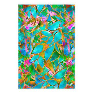 Photo Print Floral Abstract Stained Glass