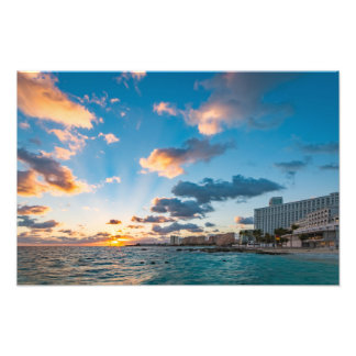 Photo Print - Sunrise over Punta Cancun, Mexico