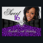 "Photo Purple Glitter Sweet 16 16th Birthday Banner Poster<br><div class=""desc"">Photo Purple Glitter Sweet 16 16th Birthday Party Birthday Party Banner Poster.Elegant. For women girls. Zizzago. All Occasions Fabulous Elegant Events for Women, Girls. Customize with your own details and age. Template for Sweet 16, 16th, Quinceanera 15th, 18th, 20th, 21st, 30th, 40th, 50th, 60th, 70th, 80th, 90, 100th, Fabulous product...</div>"