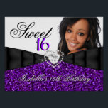 """Photo Purple Glitter Sweet 16 16th Birthday Banner Poster<br><div class=""""desc"""">Photo Purple Glitter Sweet 16 16th Birthday Party Birthday Party Banner Poster.Elegant. For women girls. Zizzago. All Occasions Fabulous Elegant Events for Women, Girls. Customize with your own details and age. Template for Sweet 16, 16th, Quinceanera 15th, 18th, 20th, 21st, 30th, 40th, 50th, 60th, 70th, 80th, 90, 100th, Fabulous product...</div>"""