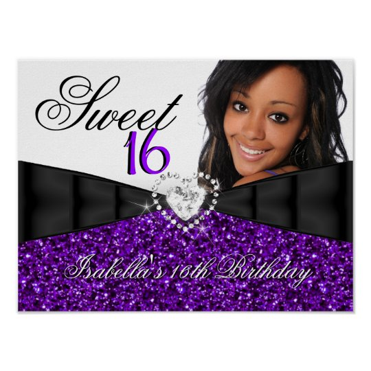 photo purple glitter sweet 16 16th birthday banner poster. Black Bedroom Furniture Sets. Home Design Ideas