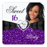 Photo Purple Glitter Sweet 16 16th Birthday Party Invite