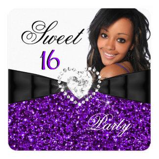Photo Purple Glitter Sweet 16 16th Birthday Party 5.25x5.25 Square Paper Invitation Card