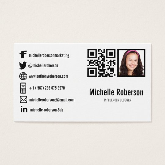 Photo qr code and social media icons business card zazzle photo qr code and social media icons business card reheart Gallery