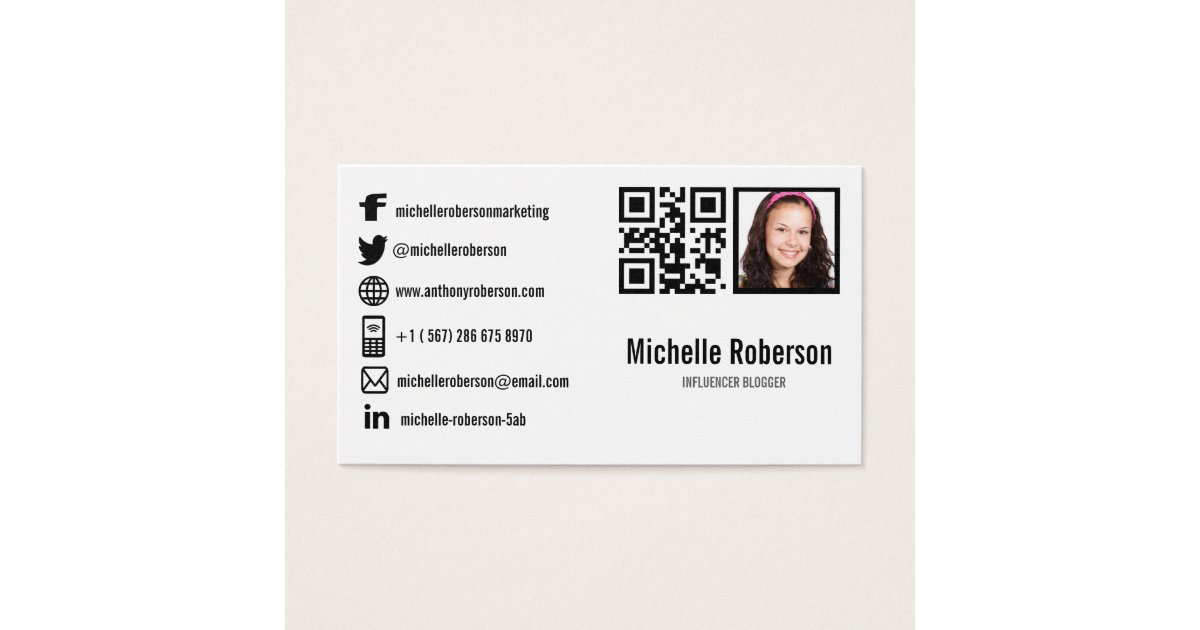photo qr code and social media icons business card | Zazzle.com