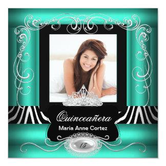 Photo Quinceanera 15th Birthday Jade Teal Zebra Card