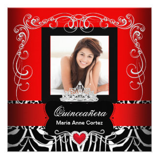 Photo Quinceanera 15th Birthday Red Zebra Personalized Announcement