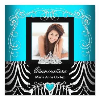 Photo Quinceanera 15th Birthday Teal Blue Zebra Card