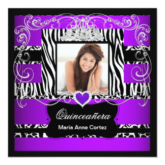 Photo Quinceanera Purple White Black Zebra Cow Card