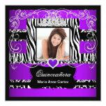 Photo Quinceanera Purple White Black Zebra Cow Invitations