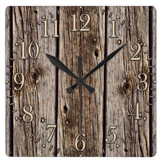 Photo Realistic Rustic, Weathered Wood Board Square Wall Clocks