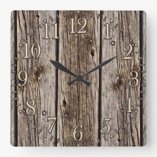 Photo Realistic Rustic, Weathered Wood Board Wallclocks