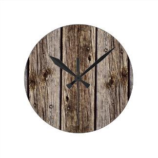 Photo Realistic Rustic, Weathered Wood Board Wall Clocks