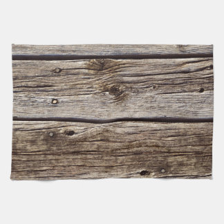 Photo Realistic Rustic, Weathered Wood Board Hand Towel