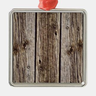 Photo Realistic Rustic, Weathered Wood Board Metal Ornament