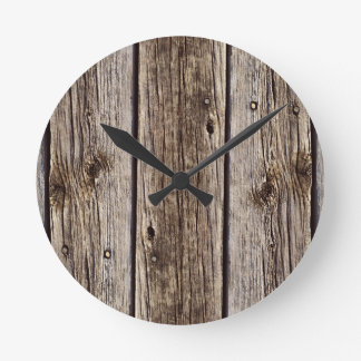Photo Realistic Rustic, Weathered Wood Board Round Clock