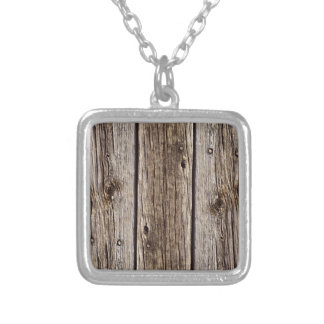 Photo Realistic Rustic, Weathered Wood Board Silver Plated Necklace