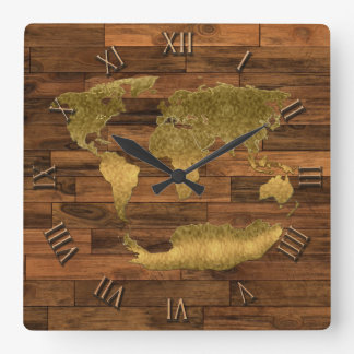 Photo Realistic Woodboard-effect & World Map Square Wall Clock