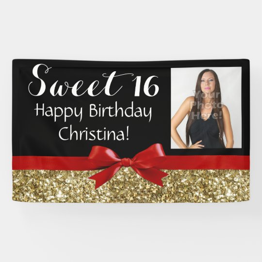 photo red gold glitter sweet 16 birthday party banner. Black Bedroom Furniture Sets. Home Design Ideas
