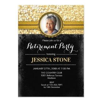 Photo Retirement - Gold Black Invitation