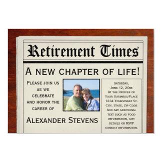 """Photo Retirement Party Fun Newspaper Invitation 5"""" X 7"""" Invitation Card"""