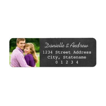Plush_Paper Photo Return Address Labels | Black Chalkboard