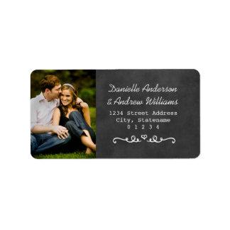 Photo Return Address Labels | Black Chalkboard