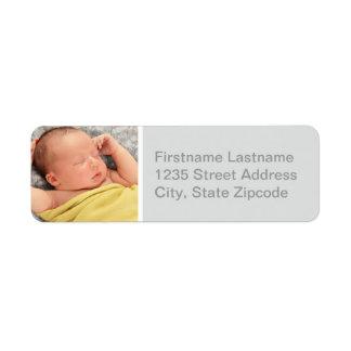 Photo Return Address Labels | Gray