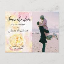 Photo Romantic boho watercolor peony Announcement Postcard