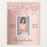 "Photo rose gold glitter drips glam luxury 2021 planner<br><div class=""desc"">IN 2021 YOU WILL RECIVE A NOTIFICATION THAT YOU'LL HAVE TO REVIEW NUMER 21 IN RED. THIS IS OK AND YOU DON'T HAVE TO DO ANYTHING. A faux rose gold metallic looking background with elegant faux rose gold glitter drips, paint drip look. Templates for your own photo, year and title....</div>"