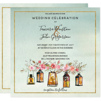 Photo Rose Gold Lanterns Watercolor Floral Wedding Invitation