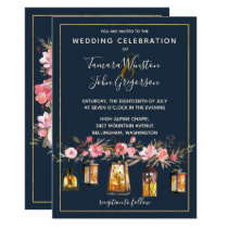 Photo Rustic Lanterns Navy Coral Floral Wedding Invitation