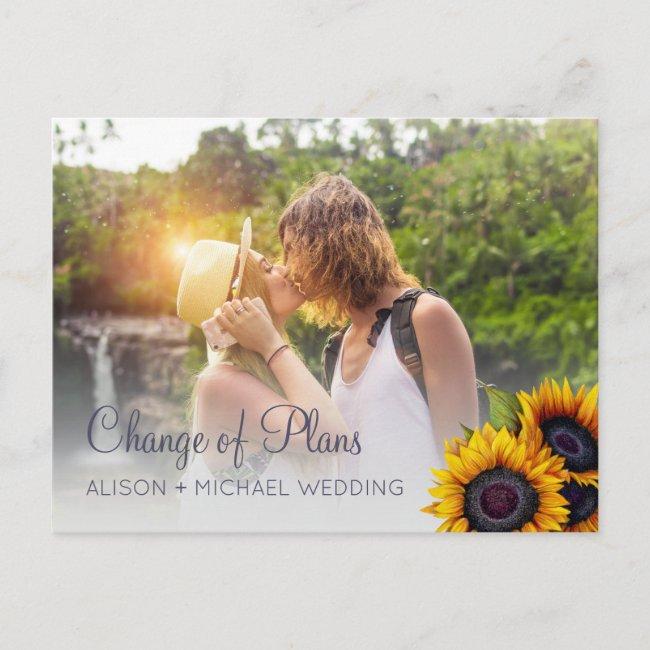 PHOTO rustic sunflowers wedding change of plans Announcement Postcard