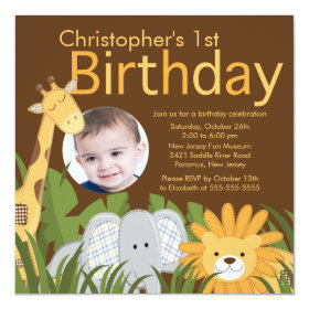Photo Safari Jungle Animal Kid Birthday Party 5.25x5.25 Square Paper Invitation Card