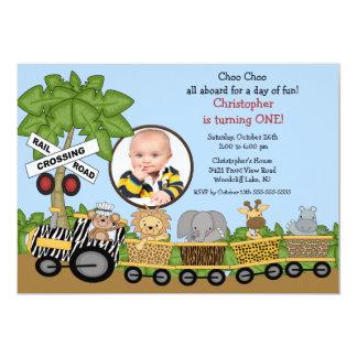 """Photo Safari Jungle Train Birthday Invitation 5"""" X 7"""" Invitation Card"""