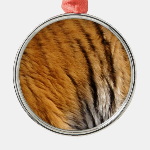 Photo-sampled Tiger Stripes Big Cat Wildlife Round Metal Christmas Ornament