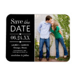 Photo Save the Date | Black and White Rectangular Photo Magnet