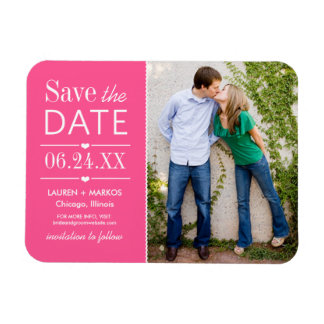 Photo Save the Date | Bright Pink Magnet