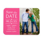 Photo Save the Date | Bright Pink Rectangular Photo Magnet