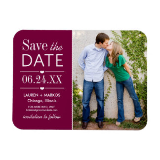 Photo Save the Date | Burgundy Red Magnet