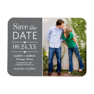 Photo Save the Date | Charcoal Gray Flexible Magnets