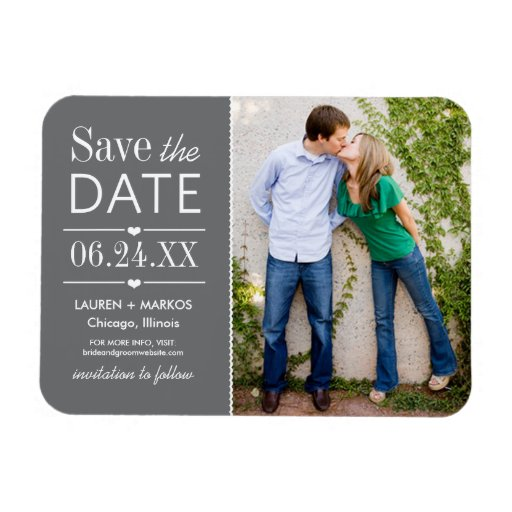 Photo Save the Date | Charcoal Gray Rectangular Photo Magnet