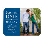 Photo Save the Date | Classic Blue Rectangle Magnet