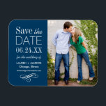 "Photo Save the Date | Custom Color Magnet<br><div class=""desc"">Modern photo save the date magnet design features mixed typography and a scroll accent. Personalize with your wedding details and a favorite engagement photo.</div>"