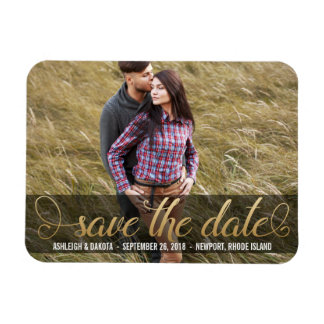 Photo Save The Date |  Faux Gold Magnet