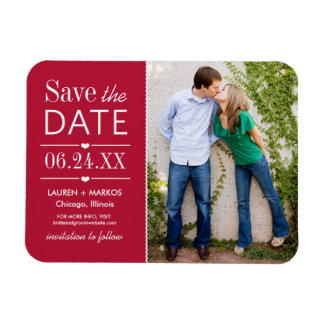 Photo Save the Date | Garnet Red Magnet