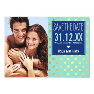 "PHOTO SAVE THE DATE gold foil polka dot navy mint 5"" X 7"" Invitation Card"