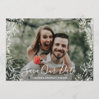 Photo Save the Date Hand Drawn Petite Flowers