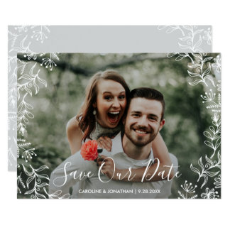 Photo Save the Date Hand Drawn Petite Flowers Card
